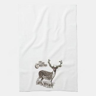 winter woodland christmas deer kitchen towels
