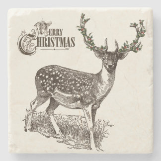 winter woodland christmas deer stone coaster