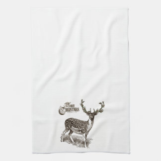winter woodland christmas deer tea towel