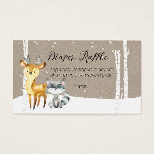 Winter Woodland - Diaper Raffle Card