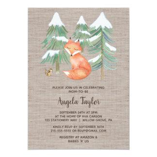 Winter Woodland Fox and Chipmunk Baby Shower Card