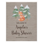 Winter Woodland Fox Baby Shower Welcome Poster