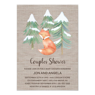 Winter Woodland Fox Couples Baby Shower Card
