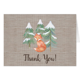 Winter Woodland Fox Thank You Card