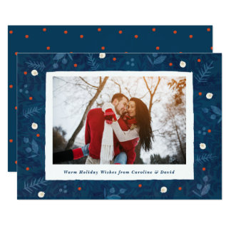 Winter Woodland Photo Holiday Card Blue Red