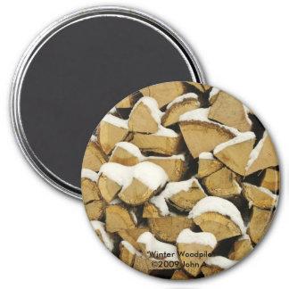 Winter Woodpile Magnet