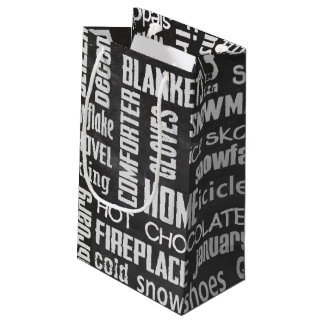 winter word cloud on chalkboard small gift bag