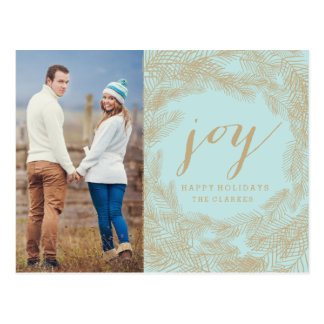 WINTER WREATH | JOY | STYLISH HOLIDAY POSTCARD