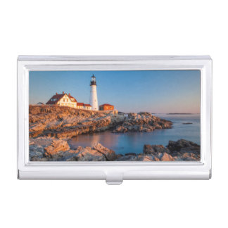 Winters dawn at Portland Head Lighthouse Business Card Holder