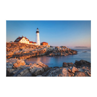 Winters dawn at Portland Head Lighthouse Stretched Canvas Print