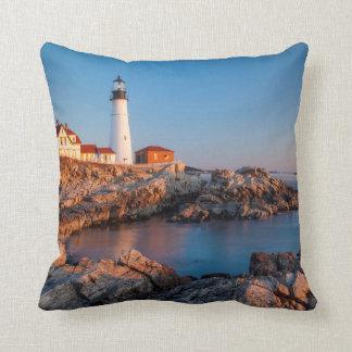 Winters dawn at Portland Head Lighthouse Cushion