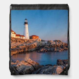Winters dawn at Portland Head Lighthouse Drawstring Bag