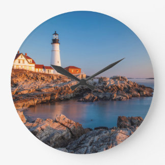 Winters dawn at Portland Head Lighthouse Large Clock