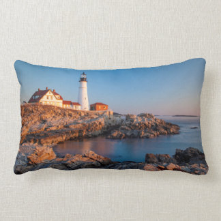 Winters dawn at Portland Head Lighthouse Lumbar Cushion