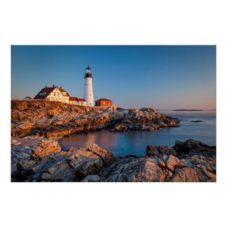 Winters dawn at Portland Head Lighthouse Poster