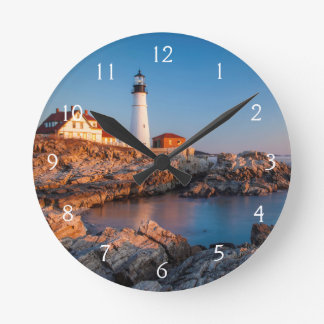 Winters dawn at Portland Head Lighthouse Round Clock