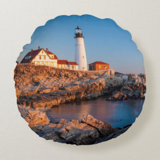 Winters dawn at Portland Head Lighthouse Round Cushion