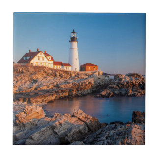 Winters dawn at Portland Head Lighthouse Small Square Tile