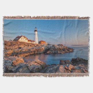 Winters dawn at Portland Head Lighthouse Throw Blanket
