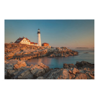 Winters dawn at Portland Head Lighthouse Wood Print