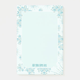 Winter's Frost | Ice Blue Snowflakes ANY Monogram Post-it Notes