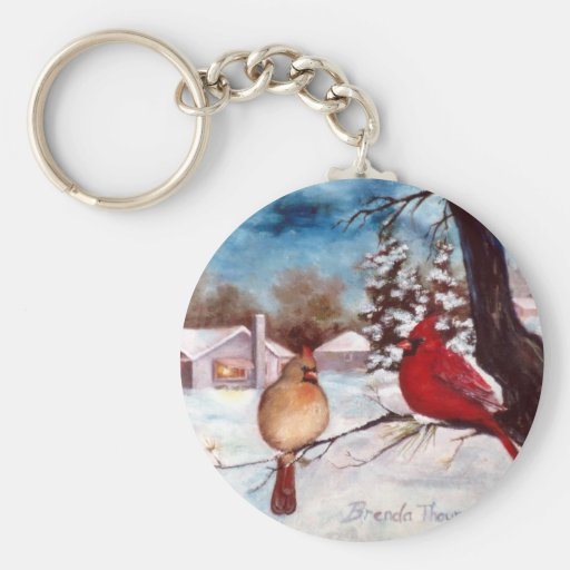 Winters Serenity Cardinal Keychain
