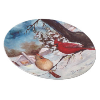 Winter's Serenity Cardinal Plate