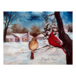 Winters Serenity Cardinal Poster