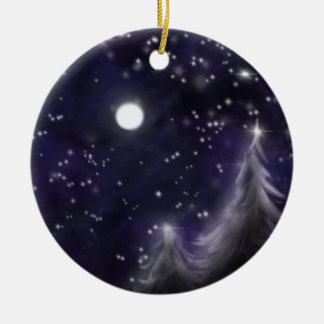 Winters starry night - romantic Holiday snow scene Christmas Ornament