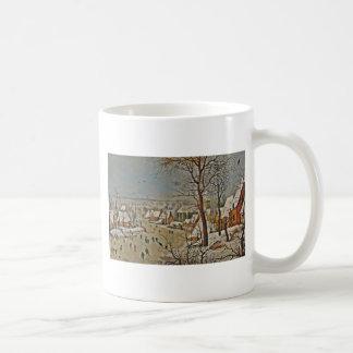 Winterscape  on a Pond with Birds Basic White Mug