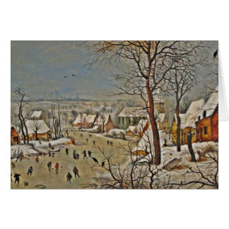Winterscape  on a Pond with Birds Greeting Card