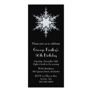 Wintery 50th Birthday Invitation black