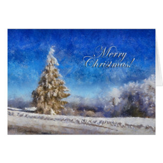 Wintery Christmas Tree Greeting Card