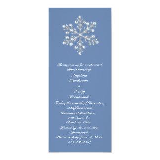 Wintery  Crystal Snowflake Rehearsal Dinner 10 Cm X 24 Cm Invitation Card