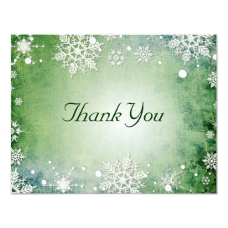 Wintery Green Thank You Card 11 Cm X 14 Cm Invitation Card