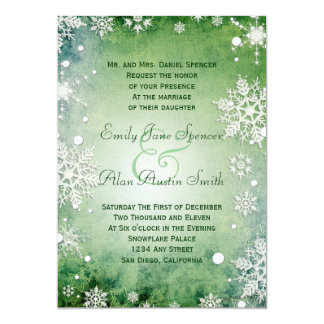 Wintery Green Wedding Invitation