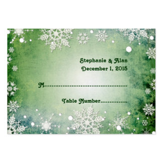 Wintery Green Wedding Place Cards Business Card Template