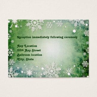 Wintery Green Wedding Reception Card