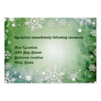 Wintery Green Wedding Reception Card Business Card Template