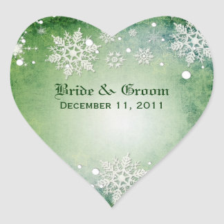 Wintery Green Wedding Stickers
