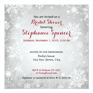 Wintery Grey Snowflake Holiday Bridal Shower 13 Cm X 13 Cm Square Invitation Card