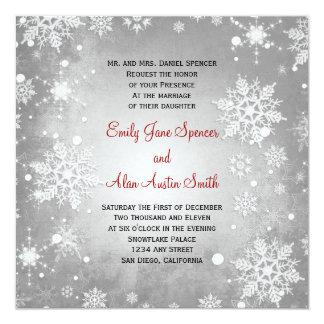 Wintery Grey Snowflakes Wedding Invitation