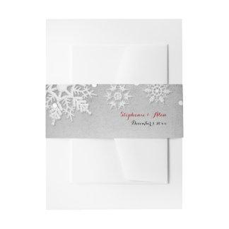 Wintery Grey Snowflakes Wedding Invitation Belly Band