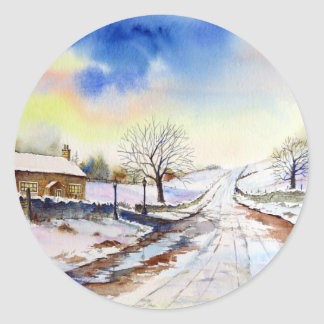 Wintery Lane Watercolor Landscape Painting Classic Round Sticker