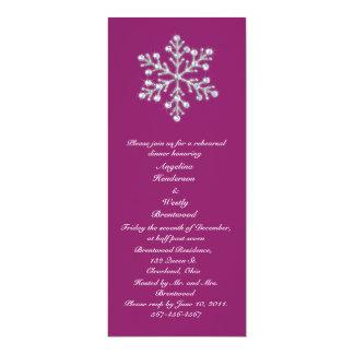 Wintery Magenta Rehearsal Dinner 10 Cm X 24 Cm Invitation Card