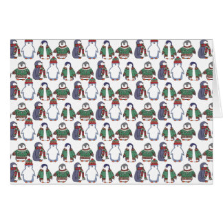 Wintery Penguins Card, Customisable! Greeting Card