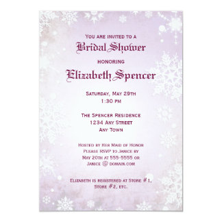 Wintery Purple Bridal Shower Invitation