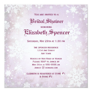Wintery Purple Bridal Shower Invitation