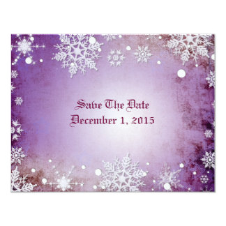 Wintery Purple Save The Date Cards 11 Cm X 14 Cm Invitation Card