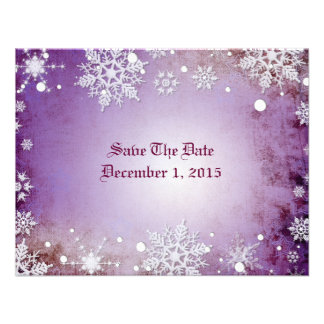 Wintery Purple Save The Date Cards Personalized Invitations